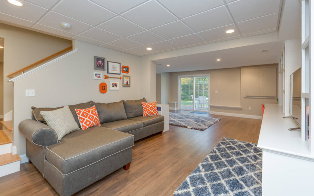 Auburn Basement Remodel with Couch