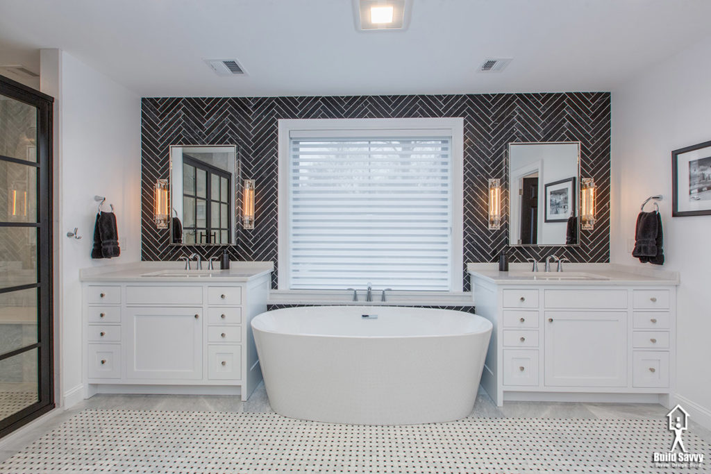 Bathtub flanked by two identical vanities