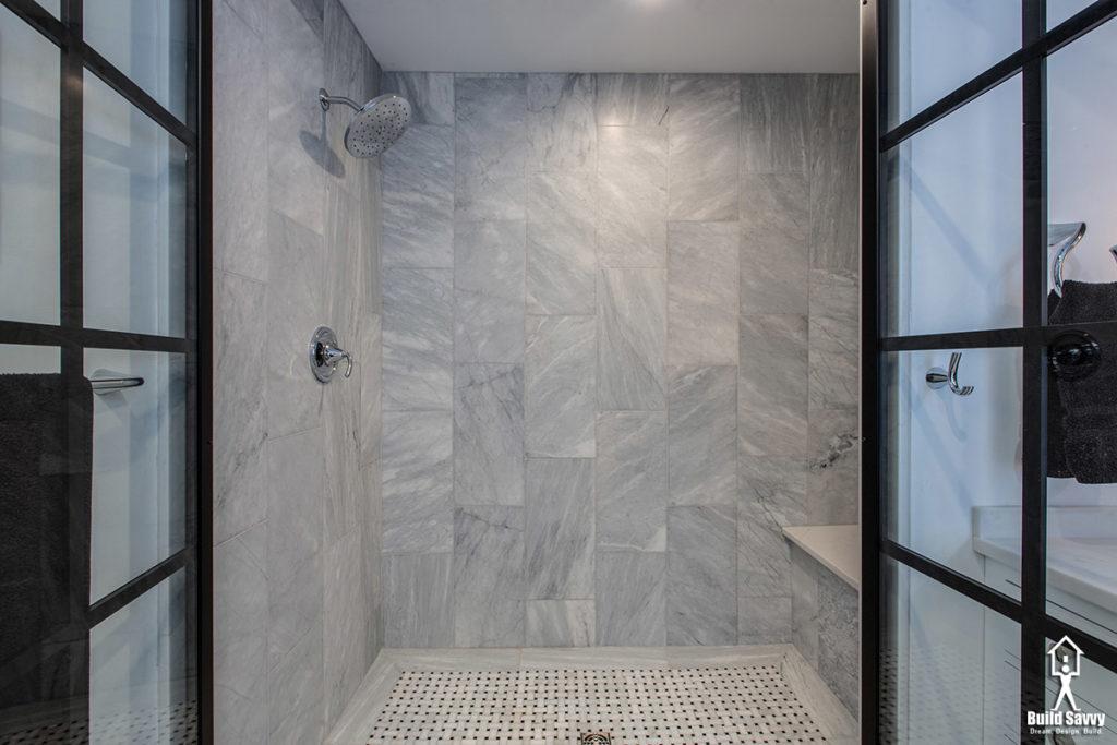 Marble tiled shower