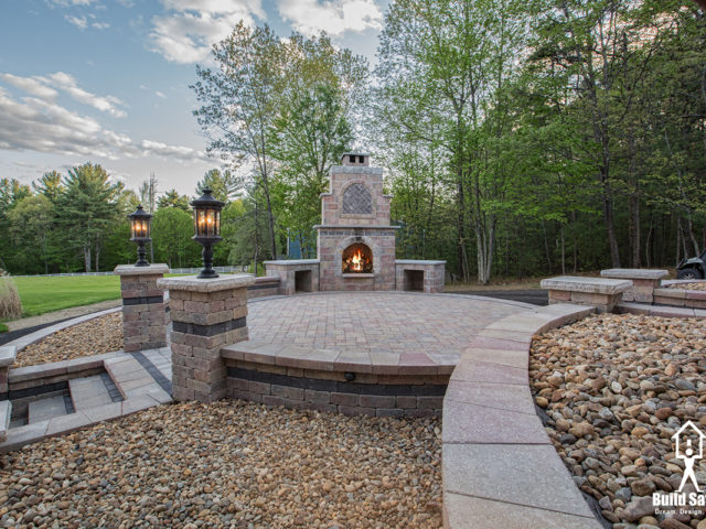 Beautiful Custom Patio with Stone Fireplace
